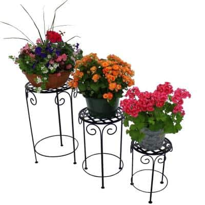 Metal Iron Plant Stand with Scroll Design in Black (Set of 3)