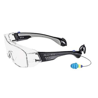 Fitover Safety Glasses Black Frame Clear Lens with NRR 25 db Silicone PermaPlugs