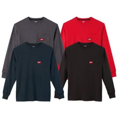 Men's Large Multi-Color Heavy-Duty Cotton/Polyester Long-Sleeve Pocket T-Shirt (4-Pack)