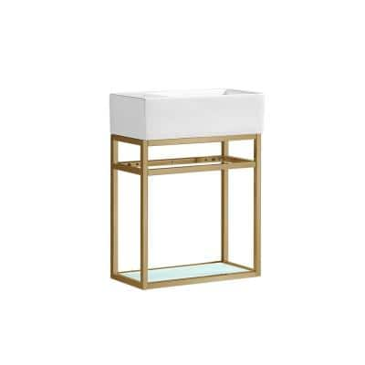 Pierre 18.9 in. W x 20 in. H Bath Vanity in Gold with Ceramic Vanity Top in White with White Basin