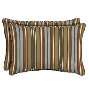 Southwest Toffee Stripe Oversized Lumbar Outdoor Throw Pillow (2-Pack)