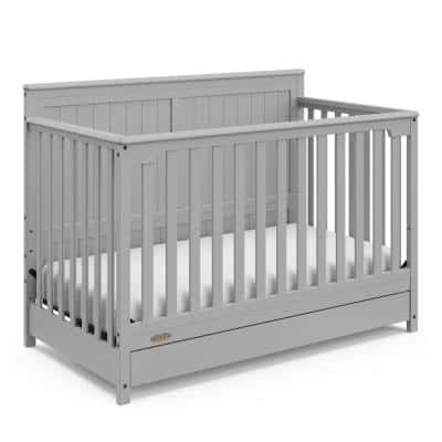 Hadley 4-in-1 Convertible Crib with Drawer-Pebble Gray