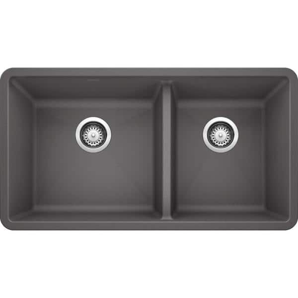 Blanco Precis Undermount Granite Composite 33 In 60 40 Double Bowl Kitchen Sink Cinder 441479 The Home Depot