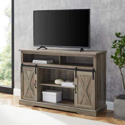 52 in. Gray Wash Composite TV Stand 56 in. with Doors