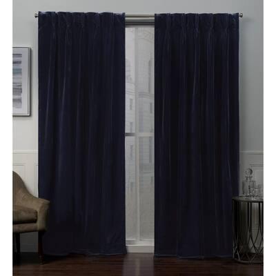 Navy Velvet Pinch Pleat Room Darkening Curtain - 27 in. W x 96 in. L (Set of 2)