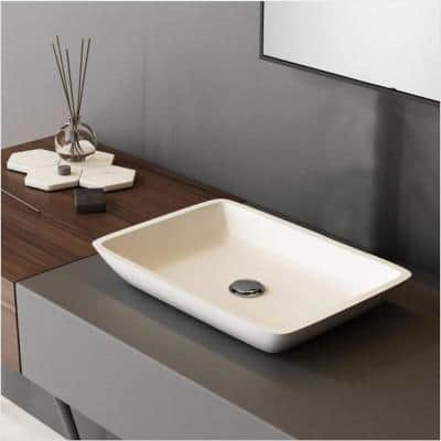 Contemporary White Glass Rectangular Vessel Sink with Pop-Up Drain