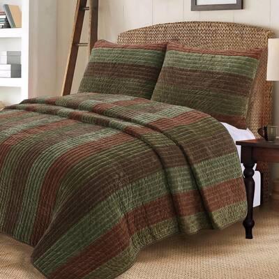 Warm Country Woods 3-Piece Dark Brown Green Cotton Queen Quilt Bedding Set