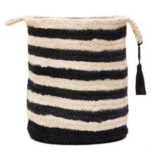 Striped Off-White / Black 17 in. Jute Decorative Storage Basket with Handles