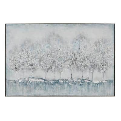 47 in. x 31.5 in. Rectangular Silver and Blue Nature Canvas Wall Art With Silver Wood Frame