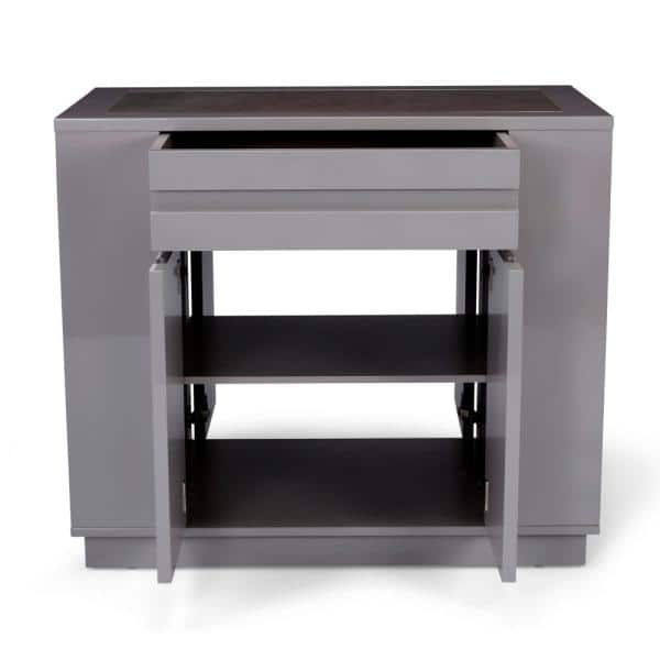 Homestyles Linear Gray Kitchen Island With Swirl Quartz Top 8001 93 The Home Depot