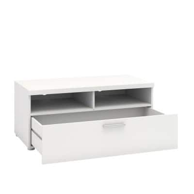 Hayward 37.28 in W White 1 Drawer TV Stand Fits TV's up to 66 lbs. with Cable Management