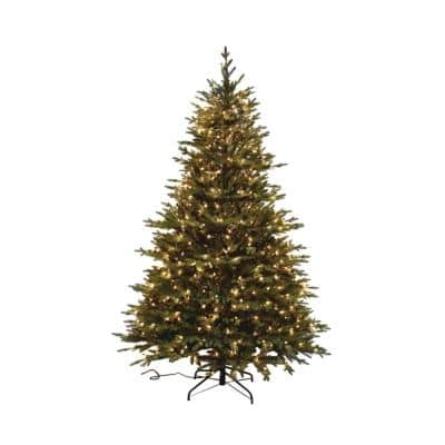 7.5 ft. Pre-Lit PE Balsam Fir Artificial Christmas Tree with 600 UL lights