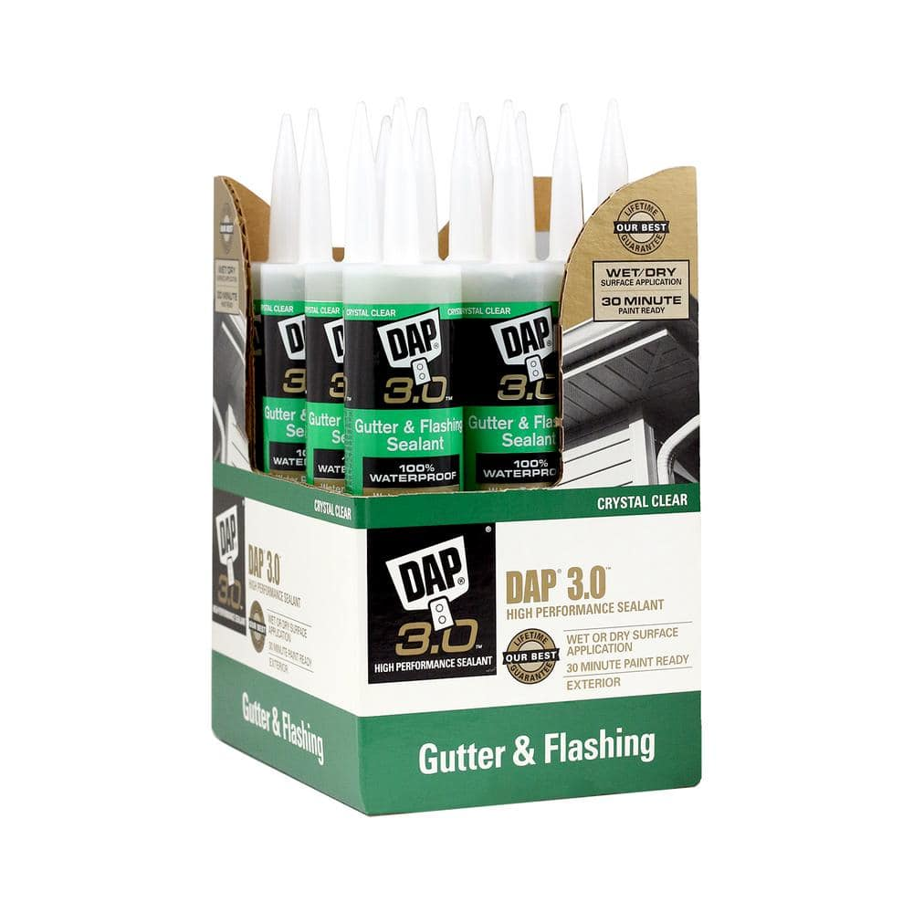 DAP 3.0 9 oz. Crystal Clear Premium Gutter and Flashing Sealant (12-Pack)