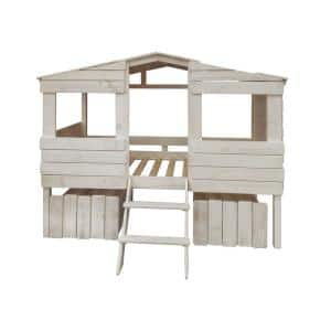 Rustic Sand Twin Tree House Loft Bed with Drawers