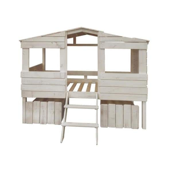 Donco Kids Rustic Sand Twin Tree House Loft Bed with Drawers   The Home Depot