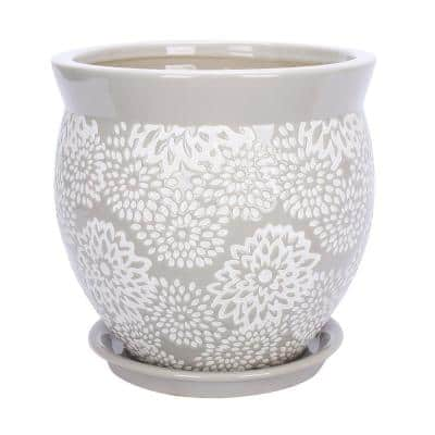 Farrah 9.1 in. x 9.1 in. Gray Ceramic Pot