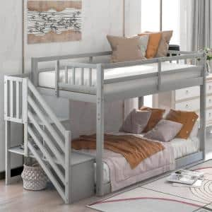 Gray Twin over Twin Floor Bunk Bed, Ladder with Storage,