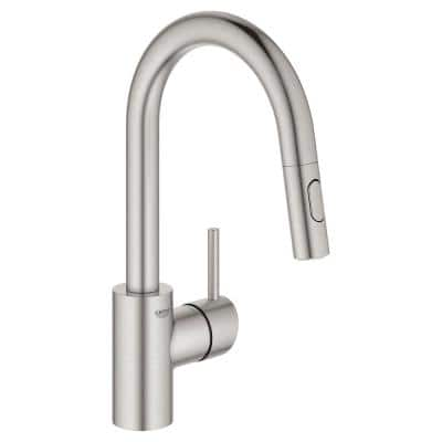 Concetto Single-Handle Dual Spray Pull-Out Sprayer Kitchen Faucet 1.75 GPM in SuperSteel InfinityFinish
