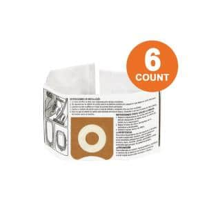 High-Efficiency Size C Dust Collection Bags for 3 to 4.5 Gal. and HD06001 RIDGID Wet/Dry Shop Vacuums (6-Pack)