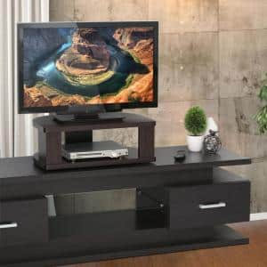 Indo 24 in. Espresso Particle Board Swivel Entertainment Center Fits TVs Up to 23 in. with Open Storage