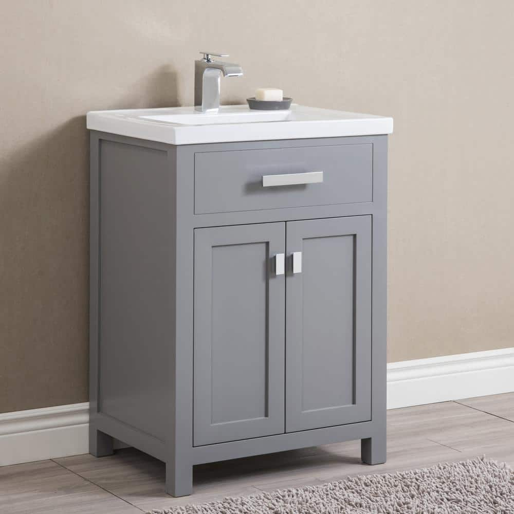 Water Creation Myra 24 In Bath Vanity In Cashmere Grey With Integrated Ceramics Vanity Top And Sink Myra24g The Home Depot
