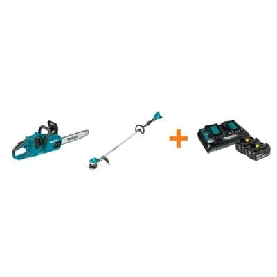 18V X2 LXT Brushless Electric 14 in. Chain Saw and 18V X2 LXT String Trimmer with bonus 18V LXT Starter Pack