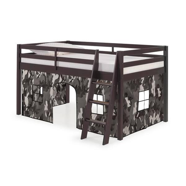 Alaterre Furniture Roxy Espresso with Gray Camo Bottom Tent Twin Junior Loft | The Home Depot