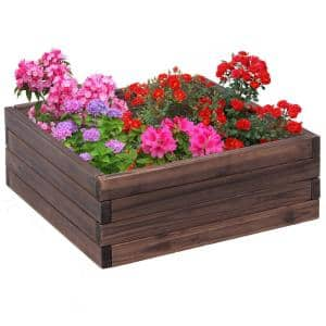 24 in. L x 24 in. W x 9 in. H Brown Fir Wood Square Raised Bed Vegetables Seeds Planter Kit