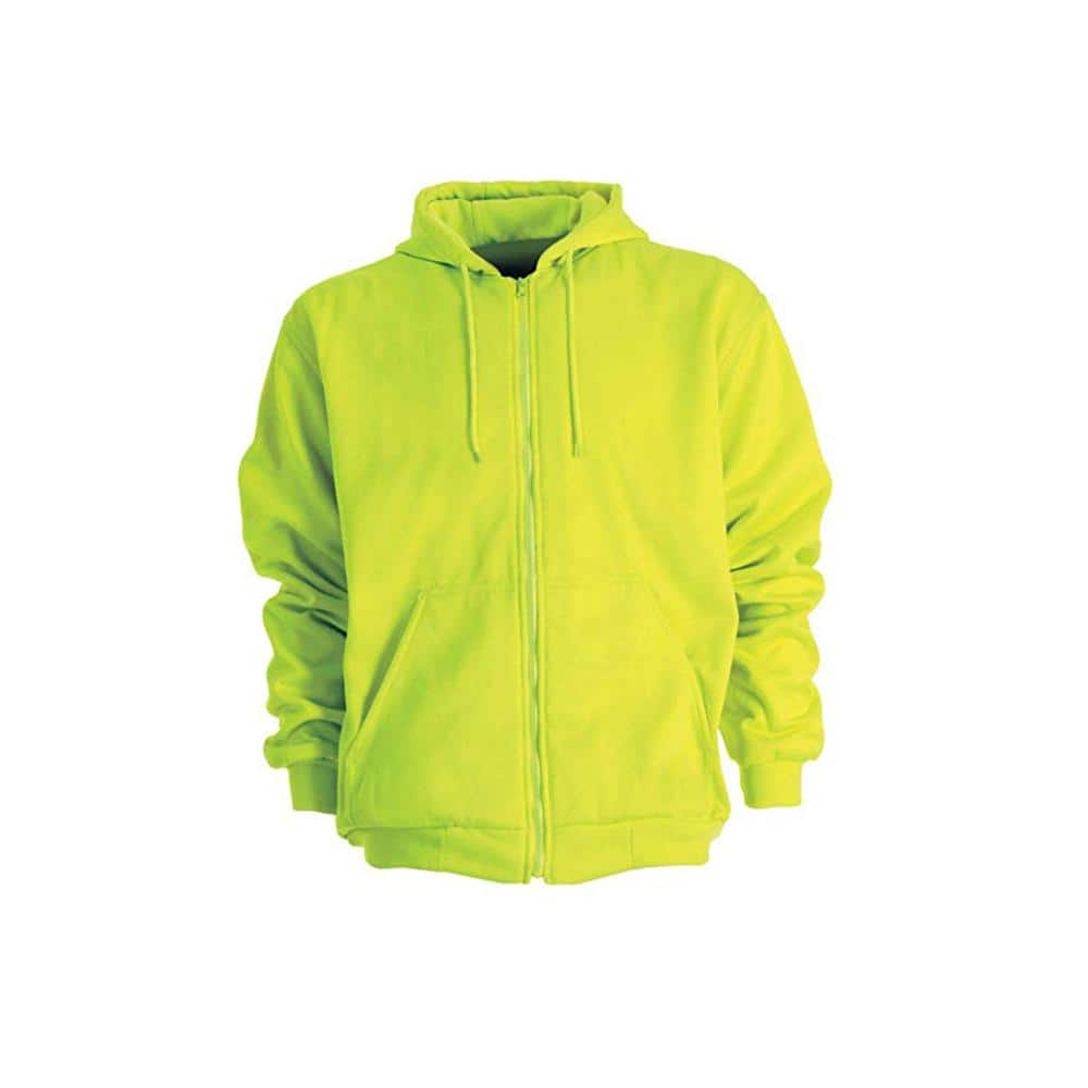 Berne Men S 4 Xl Regular Yellow 100 Polyester Enhanced Visibility Hooded Sweatshirt Hvf101ywr600 The Home Depot