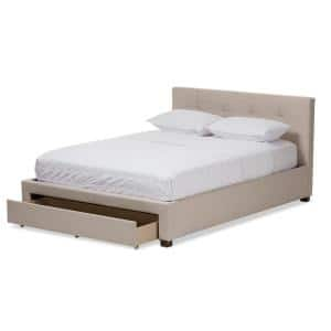 Brandy Contemporary Beige Fabric Upholstered Queen Size Bed