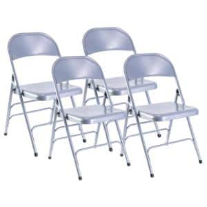 Gray Full Metal Curved Triple Braced Folding Chair (Set of 4)