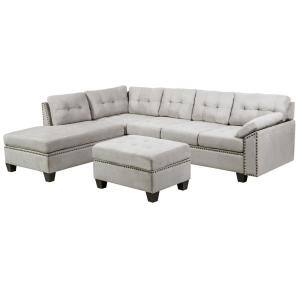 Boyel Living Mannual Motion Sofa 7 Piece Grey Fabric Symmetrical Sectionals With Reclining Rys 265gy The Home Depot