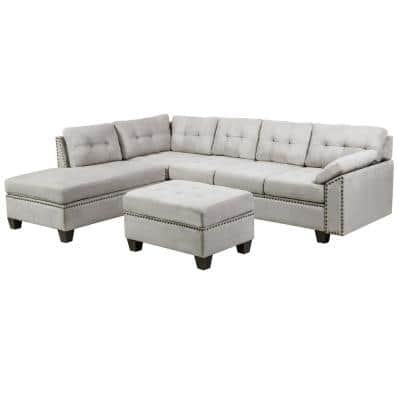 8 Piece Grey Sectional Fabric Sofa Set with Reversible Chaise Lounge and Storage Ottoman Nail Head Detail Sectionals