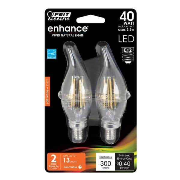 Feit Electric 40 Watt Equivalent Ca10 Candelabra Dimmable Filament Cec Clear Glass Chandelier Led Light Bulb Soft White 2 Pack Bpcfc40927cafil 2 Rp The Home Depot