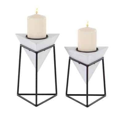 White Wood and Iron Candle Holders with Black Stands (Set of 2)