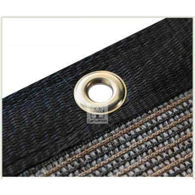6 ft. x 12 ft. Brown Privacy Fence Screen Mesh Fabric Cover Windscreen with Reinforced Grommets for Garden Fence