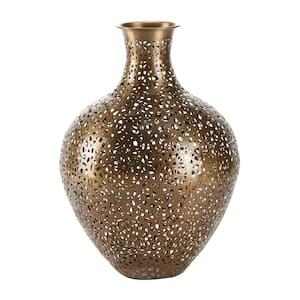 Gold Metal Eclectic Decorative Vase