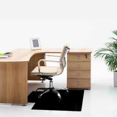 Advantagemat® Black Vinyl Lipped Chair Mat for Hard Floor - 45 in. x 53 in.