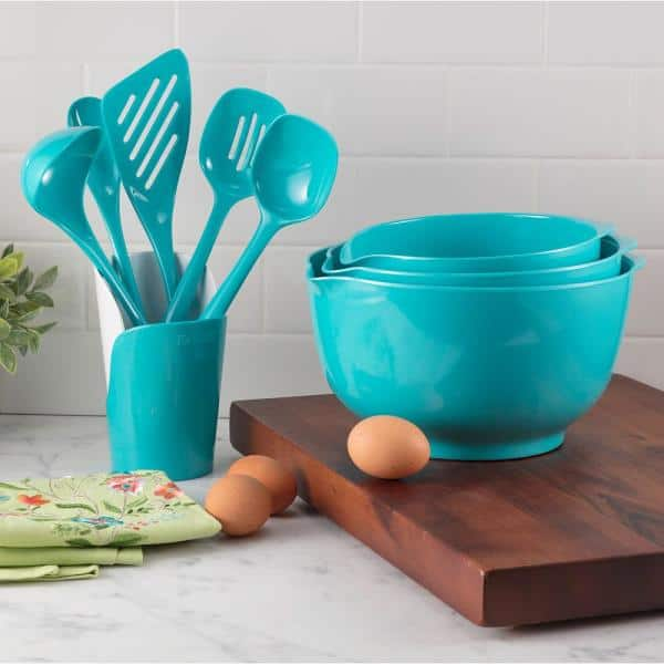 Hutzler Melamine Utensils And Crock In Turquoise Set Of 6 3106 5 The Home Depot