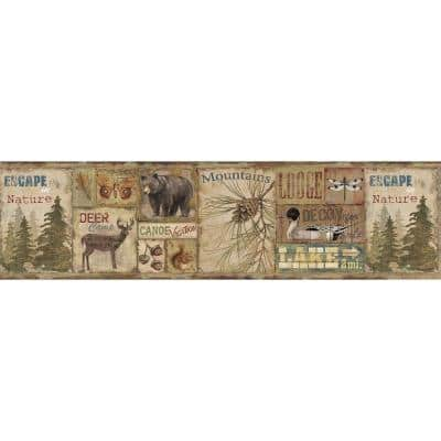 Attitash Brown Deer Camp Brown Wallpaper Border