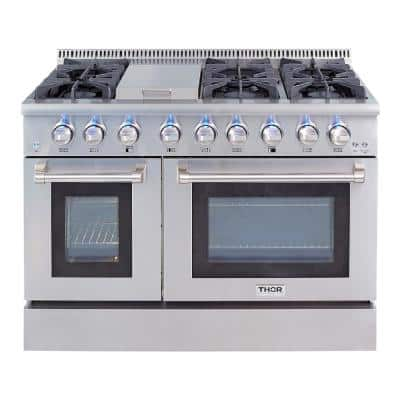 48 in. 6.7 cu. ft. Double Oven Gas Fuel  Range with Convection Oven in Stainless Steel