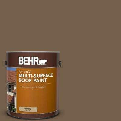 1 gal. #MS-46 Chestnut Brown Flat Multi-Surface Exterior Roof Paint