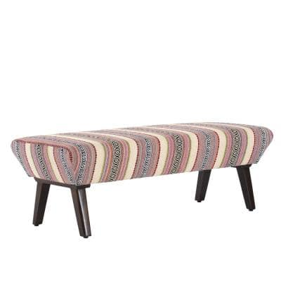 Phoebe 16 in. Multi-Color Mango Wood and Foam Bench with Upholstery