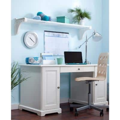 28 in. - 50 in. Metal Expandable Shelf in White with 2 End Brackets