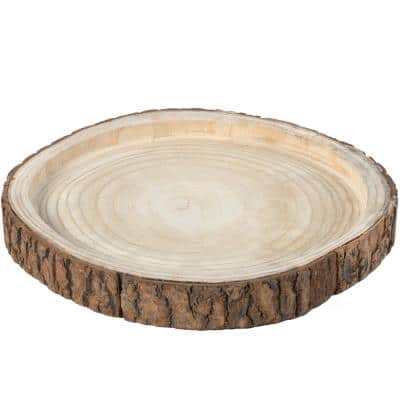 16 Dia in. Beige/ Cream Wood Tree Bark Indented Display Tray Serving Plate Platter Charger
