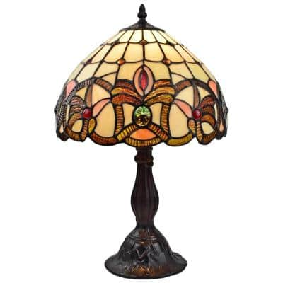 19 in. Multi-Colored Tiffany Style Geometric Table Lamp