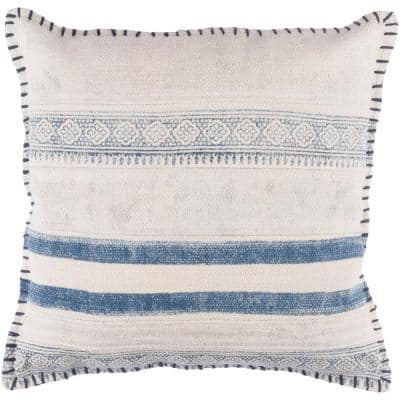 Ronda Navy Striped Polyester 20 in. x 20 in. Throw Pillow