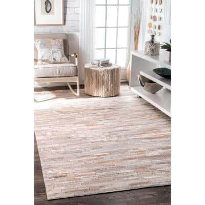 Clarity Patchwork Cowhide Beige 5 ft. x 8 ft.  Area Rug