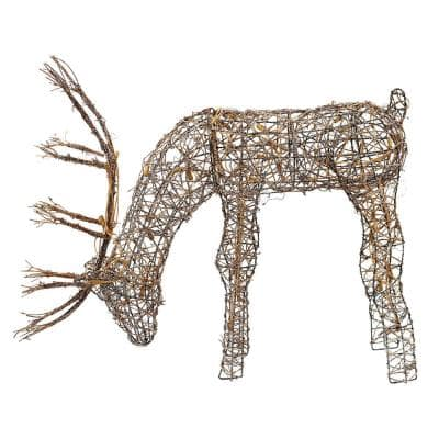 24 in. Tall Rattan Grazing Reindeer Decoration with Halogen Lights