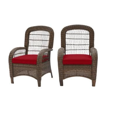 Beacon Park Brown Wicker Outdoor Patio Captain Dining Chair with CushionGuard Chili Red Cushions (2-Pack)